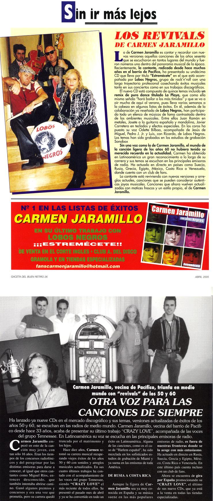 Carmen Jaramillo publicidad en Gaceta del Buen Retiro